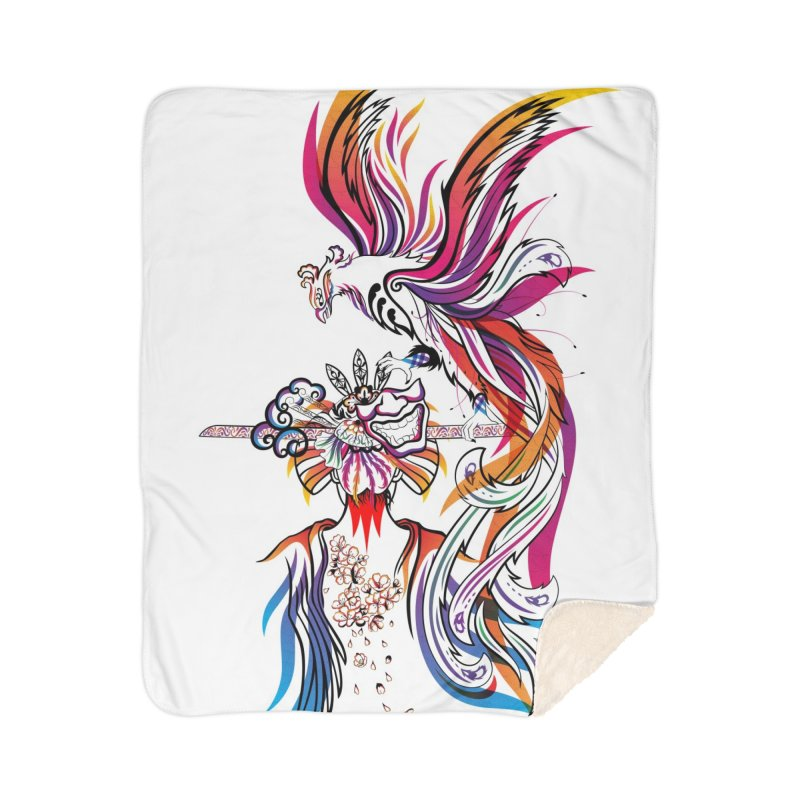 Women Warrior (2) - Women Warrior and Her Phoenix Home Sherpa Blanket Blanket by Eastern Cloud's Artist Shop