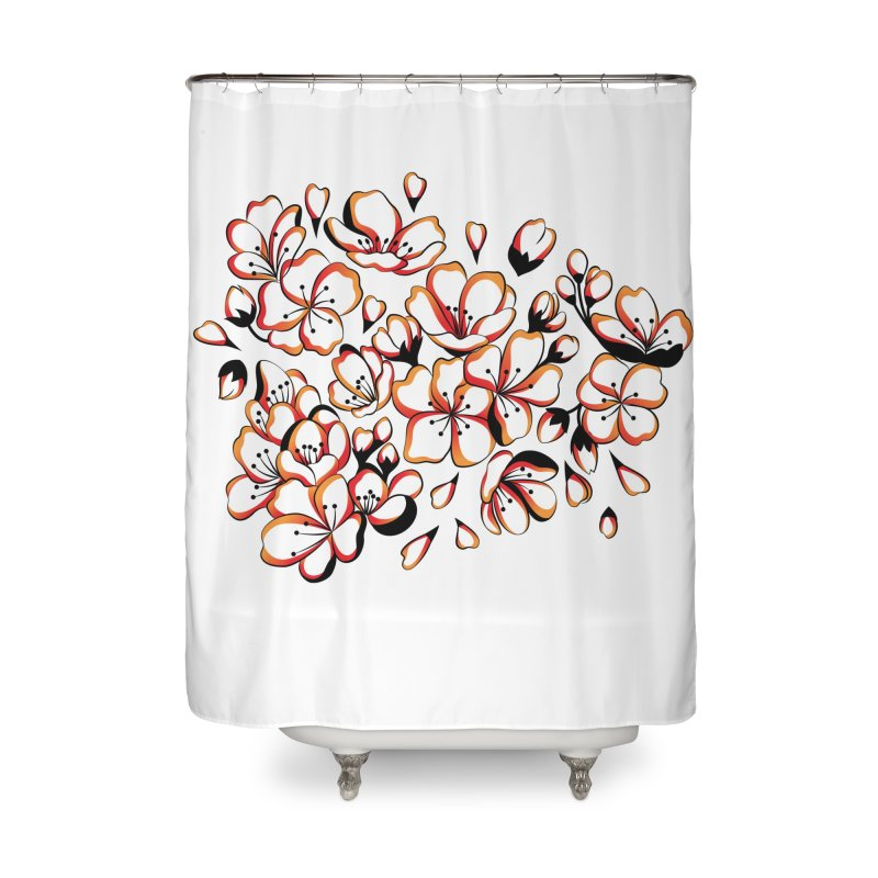 Women Warrior - Cherry Blossom Home Shower Curtain by Eastern Cloud's Artist Shop