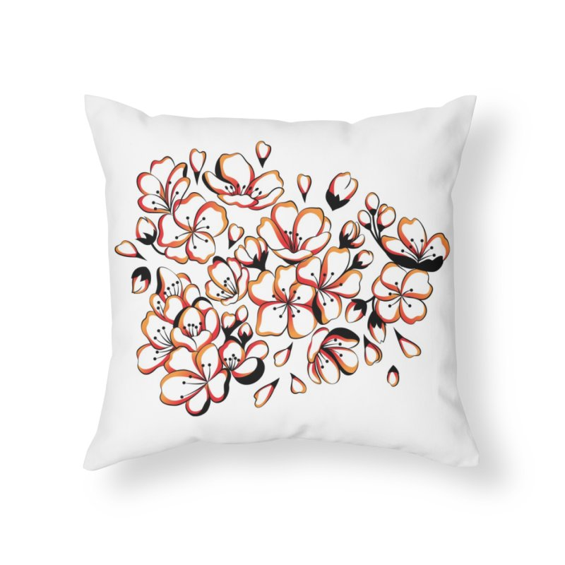 Women Warrior - Cherry Blossom Home Throw Pillow by Eastern Cloud's Artist Shop