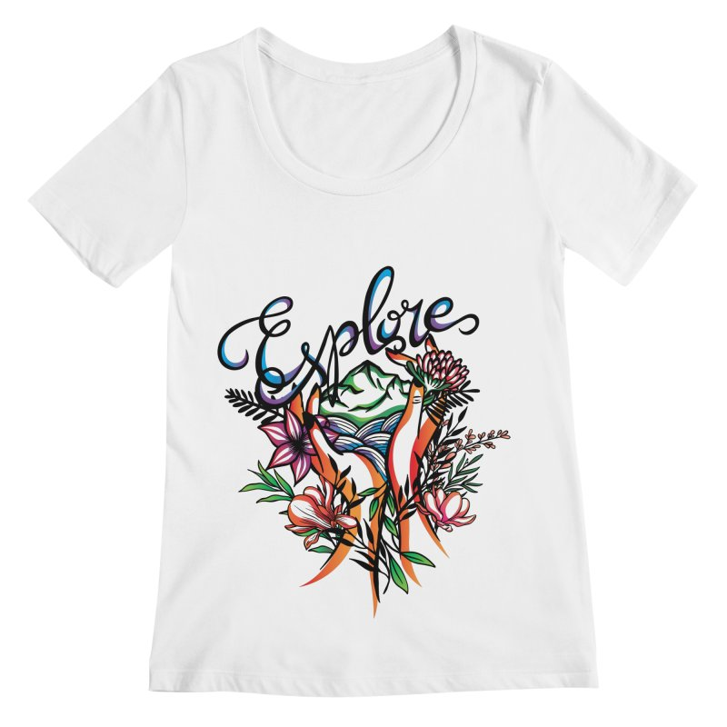 Explore the World Women's Regular Scoop Neck by Eastern Cloud's Artist Shop