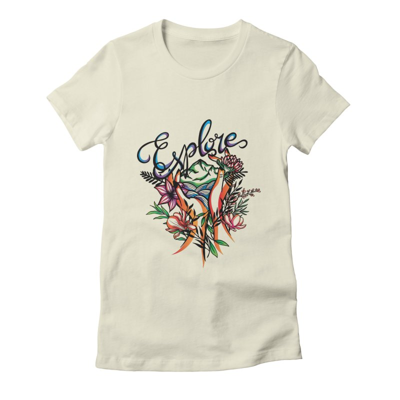 Explore the World Women's Fitted T-Shirt by Eastern Cloud's Artist Shop