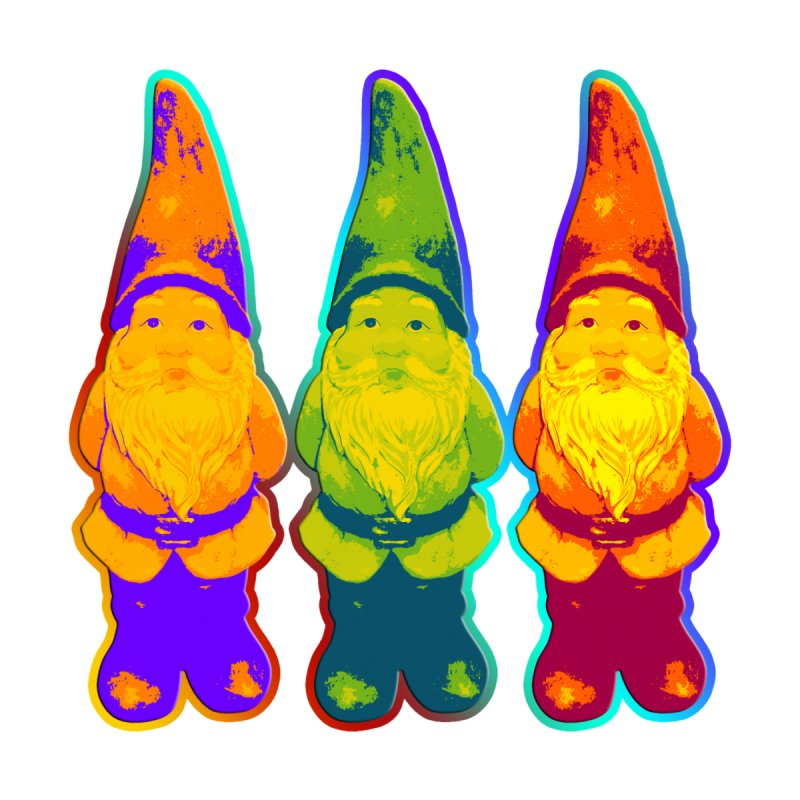 3 Garden Gnomes - Neon Style Painting by EDDArts Shop