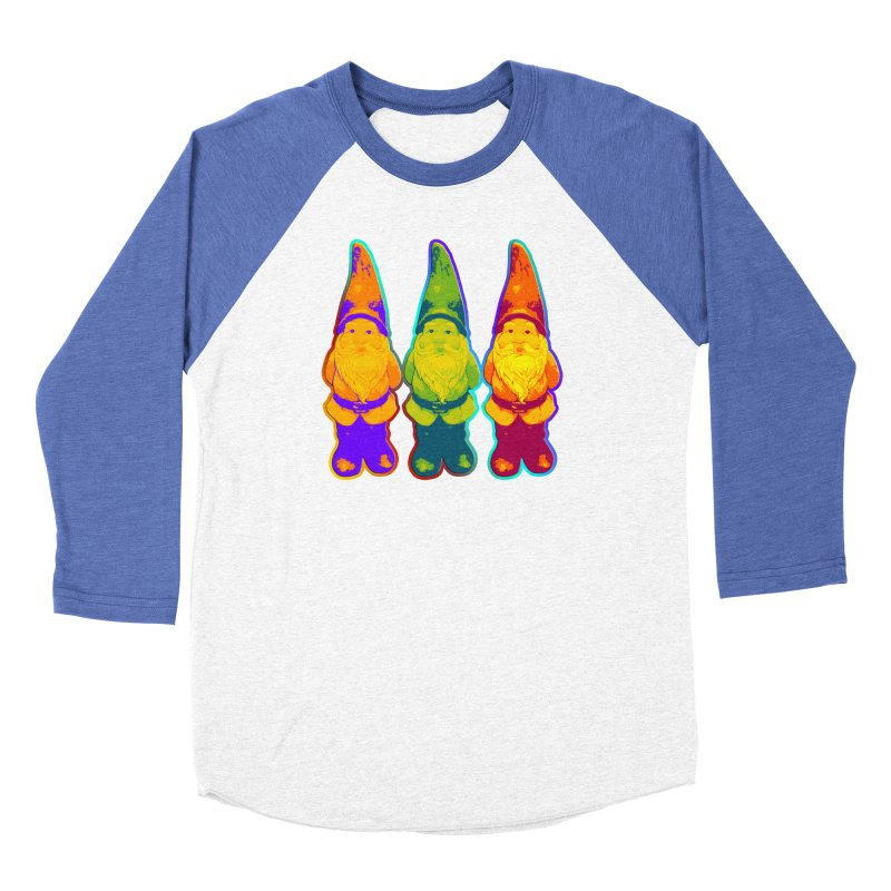 3 Garden Gnomes - Neon Style Painting Women's Baseball Triblend Longsleeve T-Shirt by EDDArts Shop