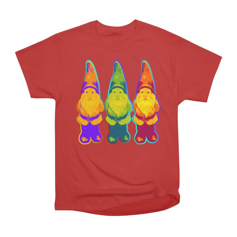 3 Garden Gnomes - Neon Style Painting Men's Heavyweight T-Shirt by EDDArts Shop