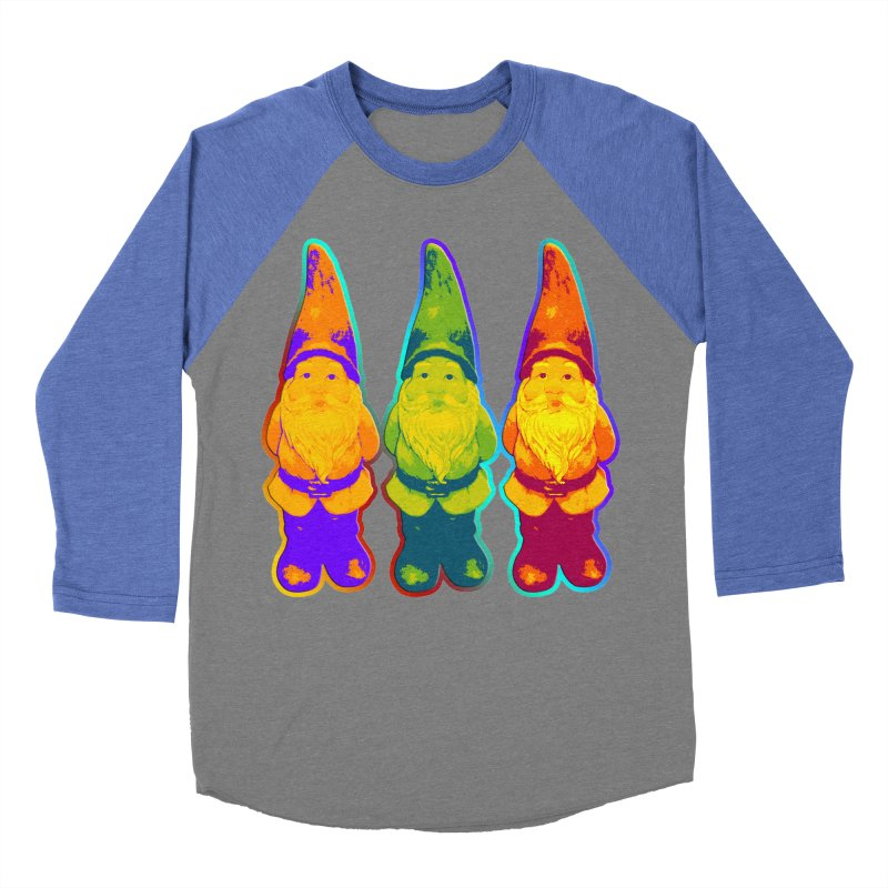 3 Garden Gnomes - Neon Style Painting Men's Baseball Triblend T-Shirt by EDDArts Shop