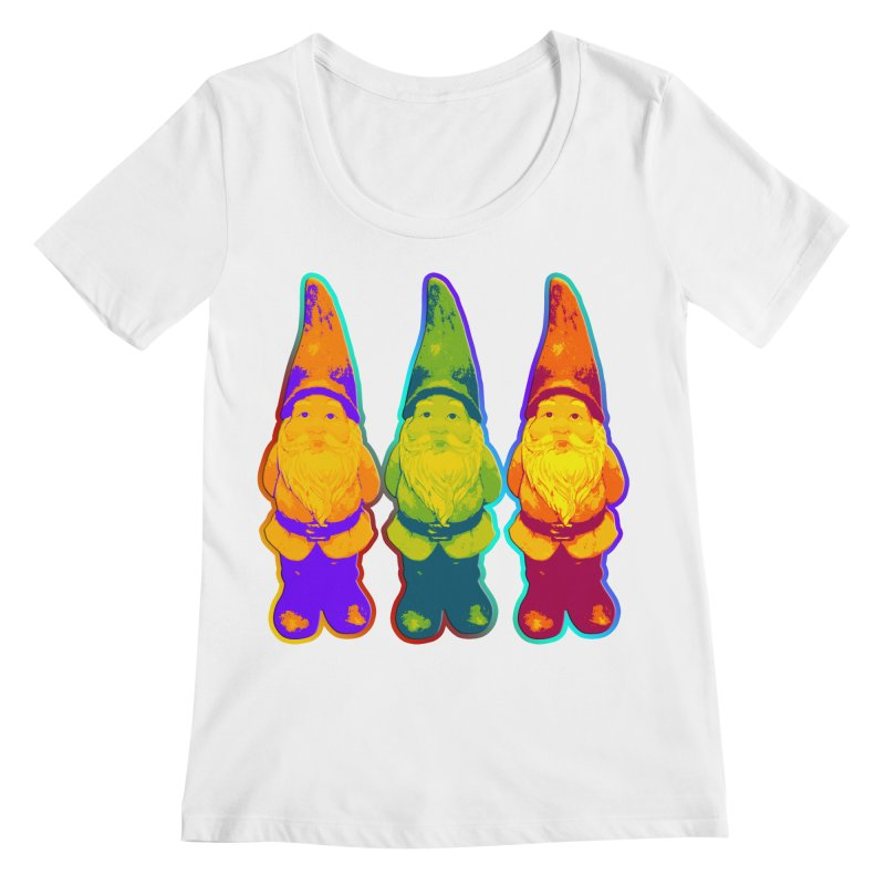 3 Garden Gnomes - Neon Style Painting Women's Regular Scoop Neck by EDDArts Shop