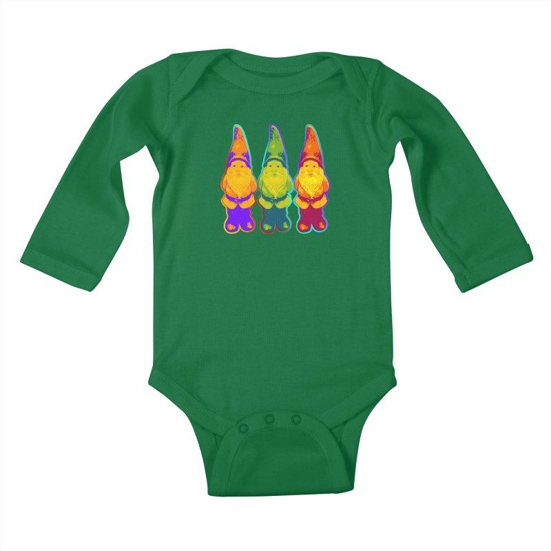 3 Garden Gnomes - Neon Style Painting Kids Baby Longsleeve Bodysuit by EDDArts Shop