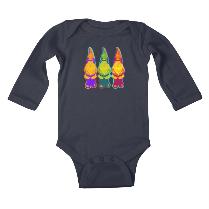 3 Garden Gnomes - Neon Style Painting Kids Baby Longsleeve Bodysuit by EDDArts Shop