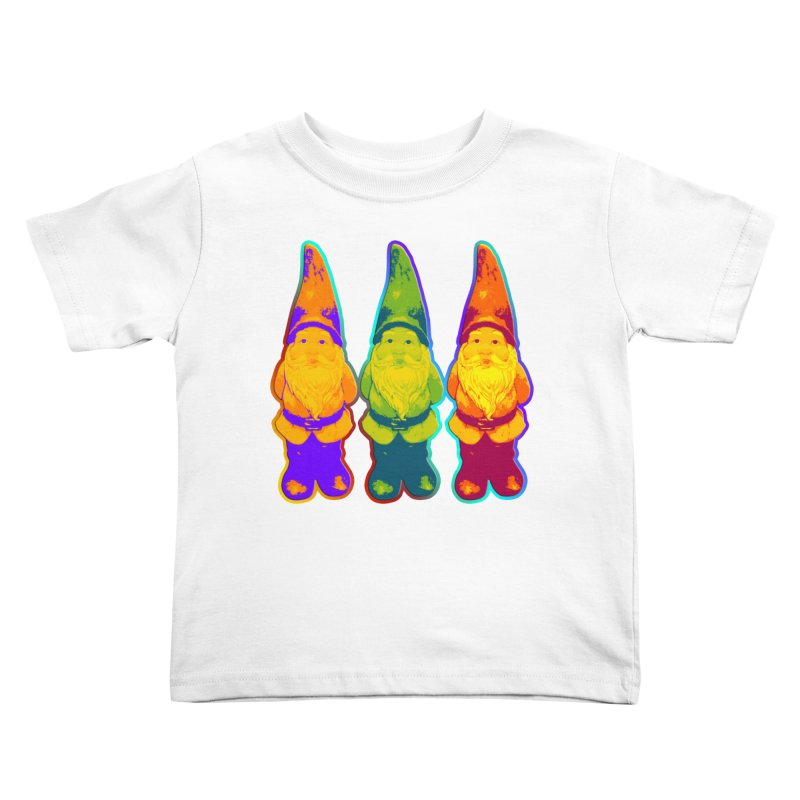 3 Garden Gnomes - Neon Style Painting Kids Toddler T-Shirt by EDDArts Shop