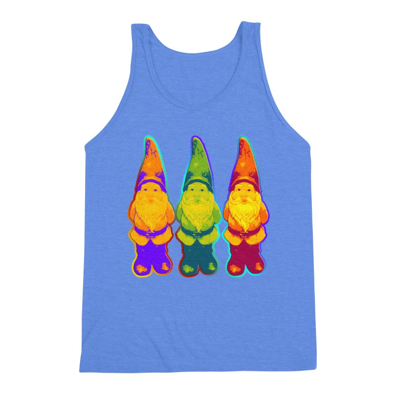 3 Garden Gnomes - Neon Style Painting Men's Triblend Tank by EDDArts Shop