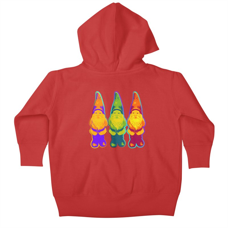 3 Garden Gnomes - Neon Style Painting Kids Baby Zip-Up Hoody by EDDArts Shop