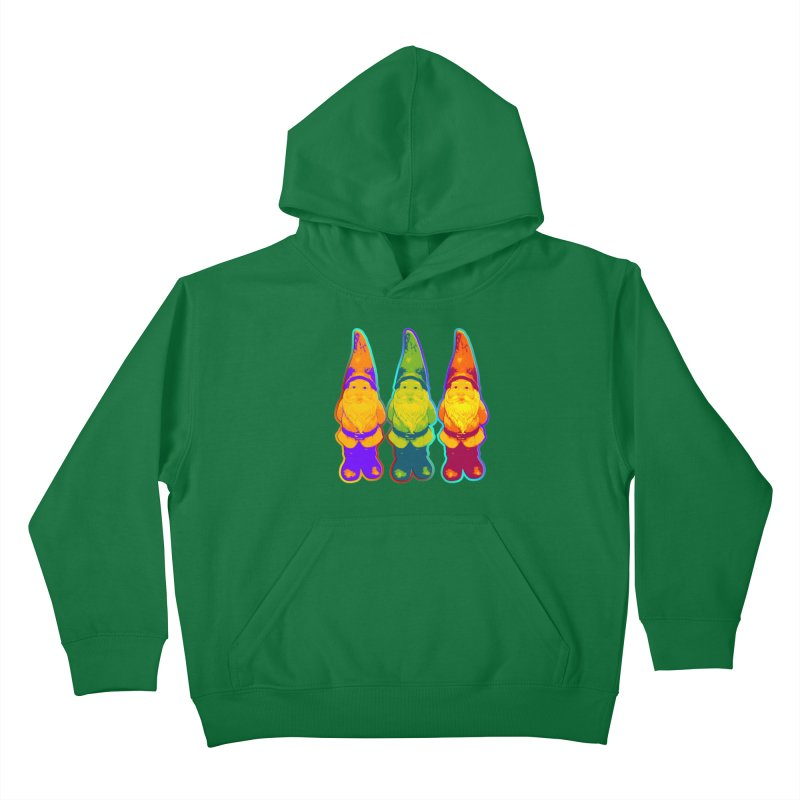 3 Garden Gnomes - Neon Style Painting Kids Pullover Hoody by EDDArts Shop