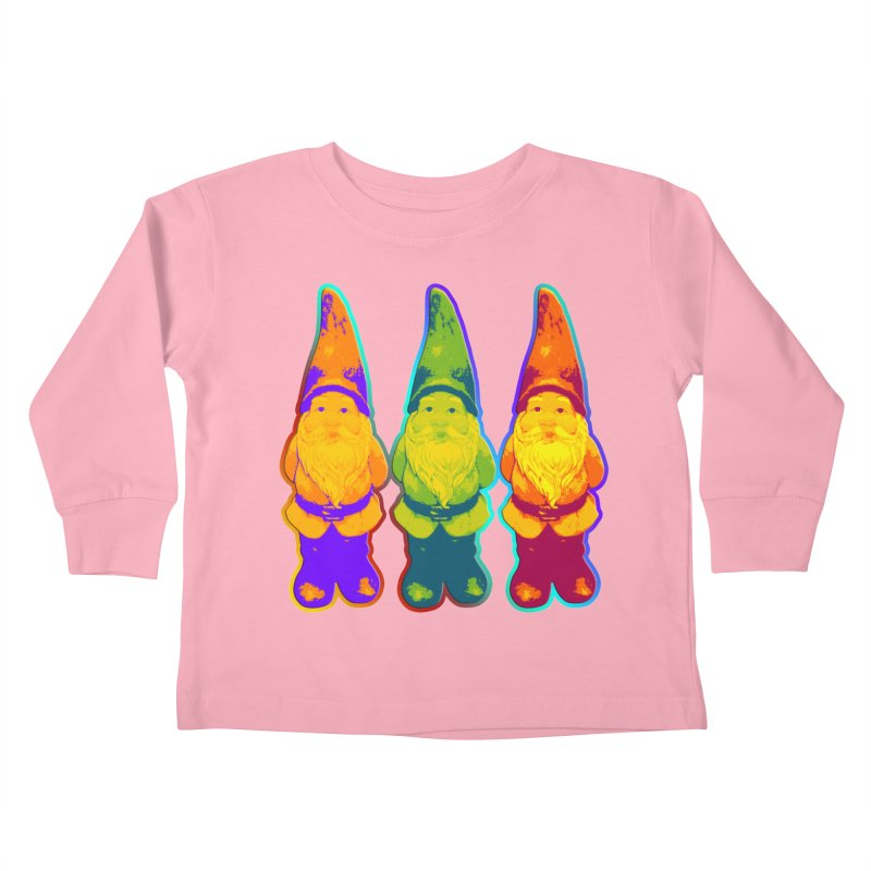 3 Garden Gnomes - Neon Style Painting Kids Toddler Longsleeve T-Shirt by EDDArts Shop