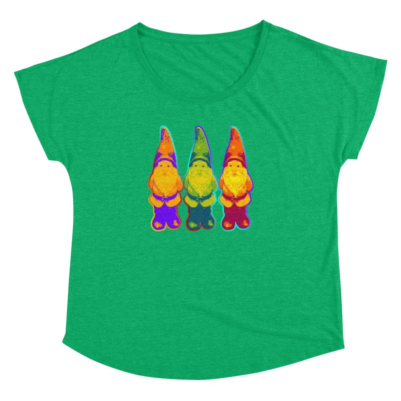 3 Garden Gnomes - Neon Style Painting Women's Dolman Scoop Neck by EDDArts Shop