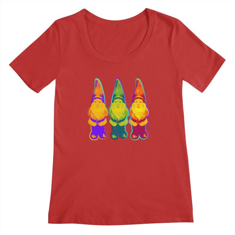 3 Garden Gnomes - Neon Style Painting Women's Regular Scoop Neck by EDDArts Shop