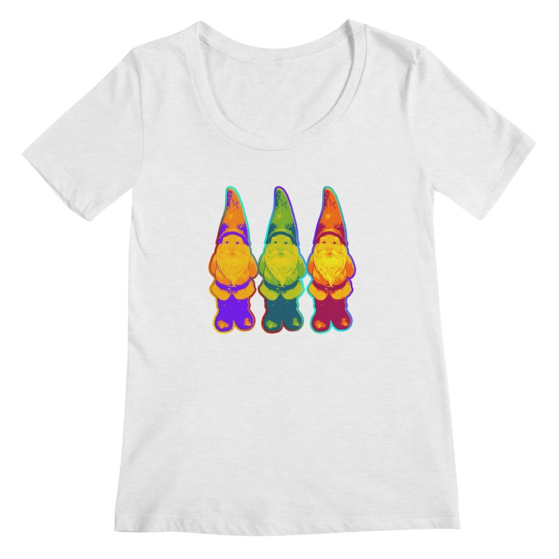 3 Garden Gnomes - Neon Style Painting Women's Scoopneck by EDDArts Shop
