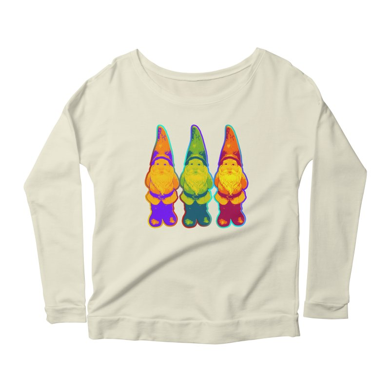 3 Garden Gnomes - Neon Style Painting Women's Longsleeve Scoopneck  by EDDArts Shop