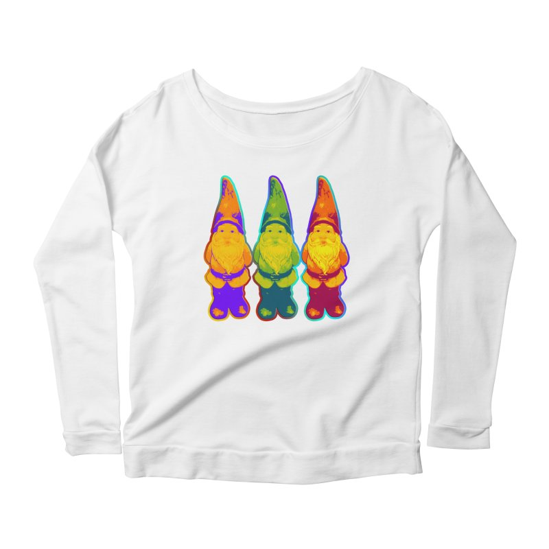 3 Garden Gnomes - Neon Style Painting Women's Scoop Neck Longsleeve T-Shirt by EDDArts Shop