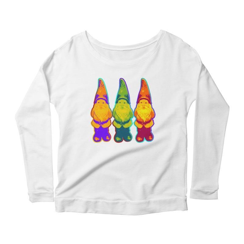 3 Garden Gnomes - Neon Style Painting Women's Longsleeve Scoopneck  by EDDArts Shop