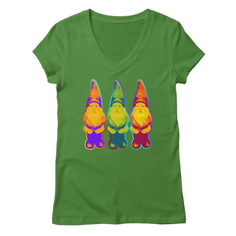 3 Garden Gnomes - Neon Style Painting Women's Regular V-Neck by EDDArts Shop