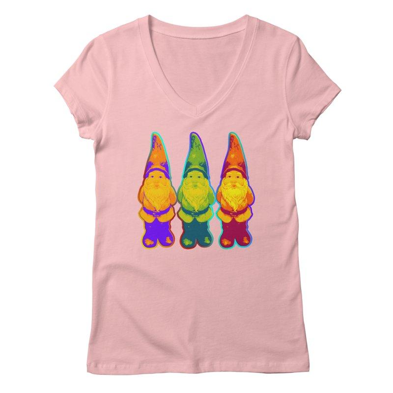 3 Garden Gnomes - Neon Style Painting Women's Regular V-Neck by EDDArts Shop