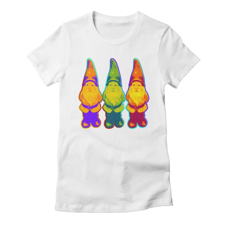 3 Garden Gnomes - Neon Style Painting Women's Fitted T-Shirt by EDDArts Shop