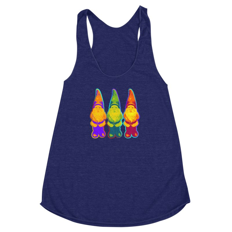 3 Garden Gnomes - Neon Style Painting Women's Racerback Triblend Tank by EDDArts Shop