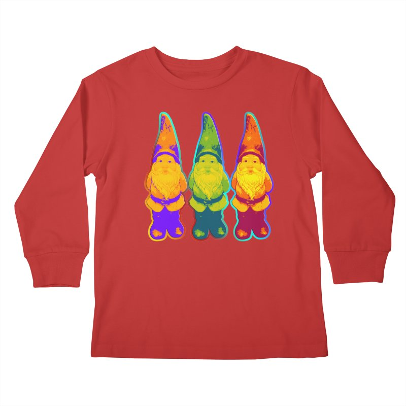 3 Garden Gnomes - Neon Style Painting Kids Longsleeve T-Shirt by EDDArts Shop