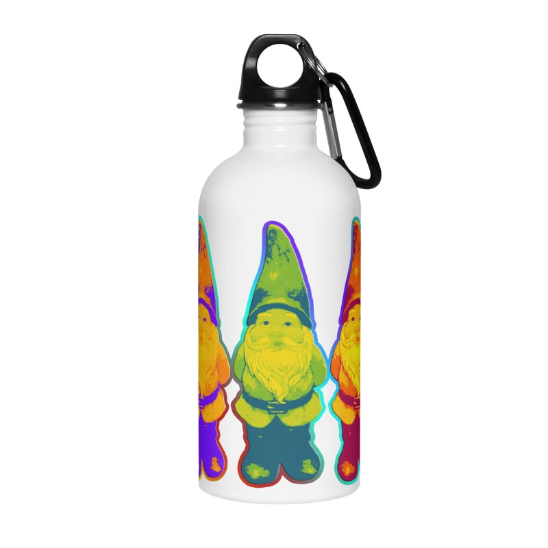 3 Garden Gnomes - Neon Style Painting Accessories Water Bottle by EDDArts Shop