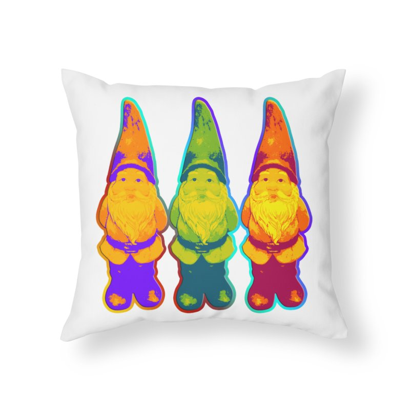 3 Garden Gnomes - Neon Style Painting Home Throw Pillow by EDDArts Shop