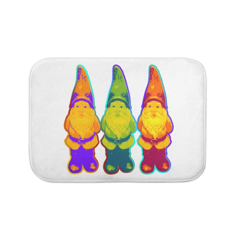 3 Garden Gnomes - Neon Style Painting Home Bath Mat by EDDArts Shop