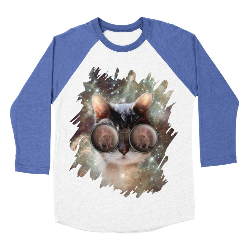 Funny COOL KITTY CAT - Mouse Sun Glasses Men's Baseball Triblend Longsleeve T-Shirt by EDDArts Shop