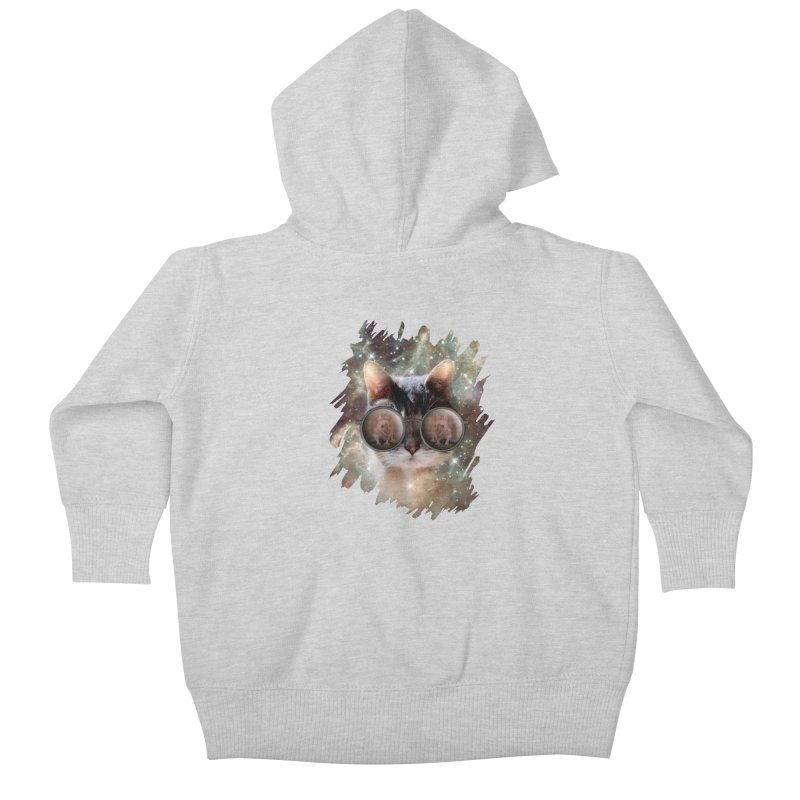 Funny COOL KITTY CAT - Mouse Sun Glasses Kids Baby Zip-Up Hoody by EDDArts Shop