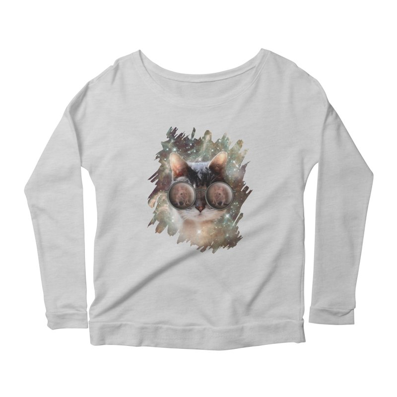 Funny COOL KITTY CAT - Mouse Sun Glasses Women's Scoop Neck Longsleeve T-Shirt by EDDArts Shop