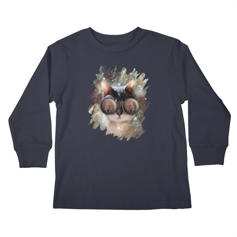 Funny COOL KITTY CAT - Mouse Sun Glasses Kids Longsleeve T-Shirt by EDDArts Shop