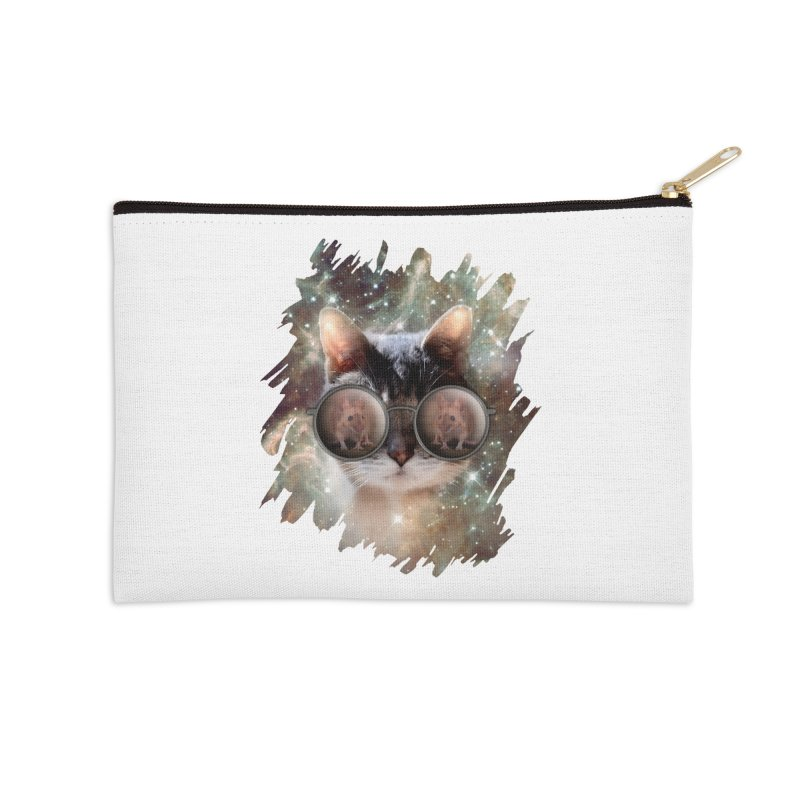 Funny COOL KITTY CAT - Mouse Sun Glasses Accessories Zip Pouch by EDDArts Shop