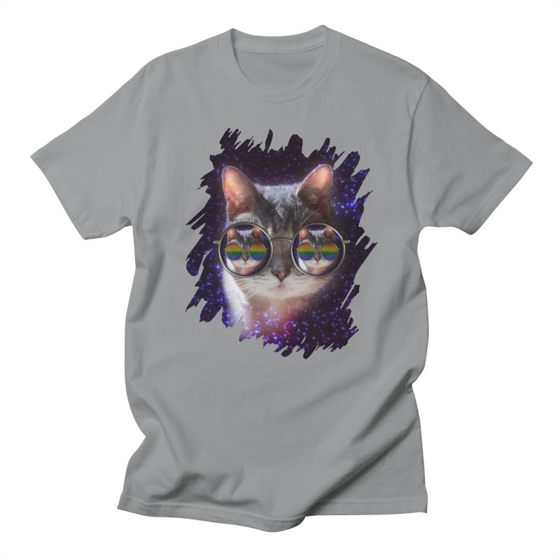 Funny COOL KITTY CAT - Rainbow Sun Glasses Women's Regular Unisex T-Shirt by EDDArts Shop