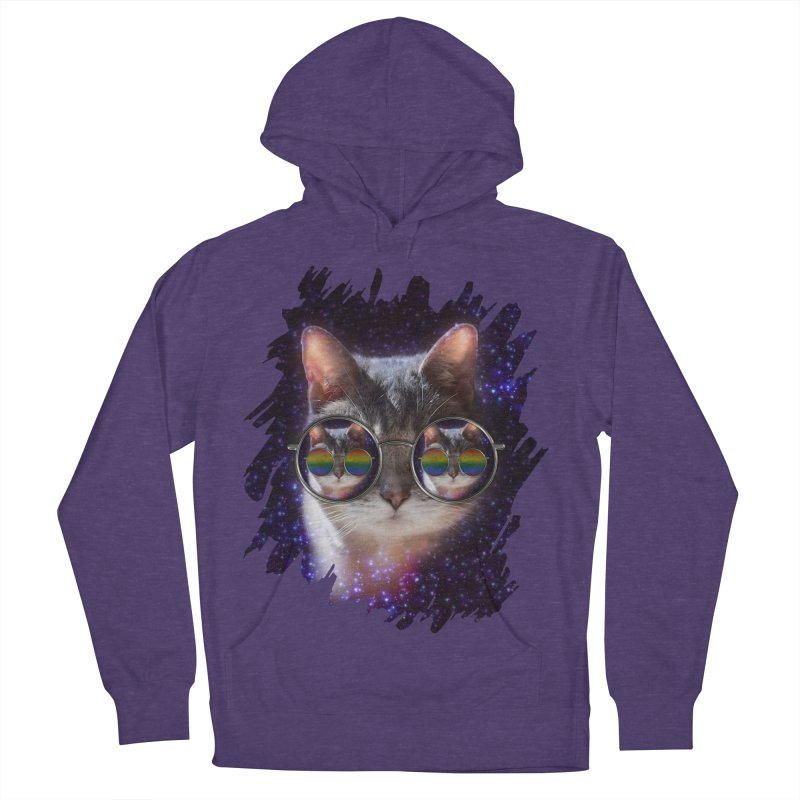 Funny COOL KITTY CAT - Rainbow Sun Glasses Women's Pullover Hoody by EDDArts Shop