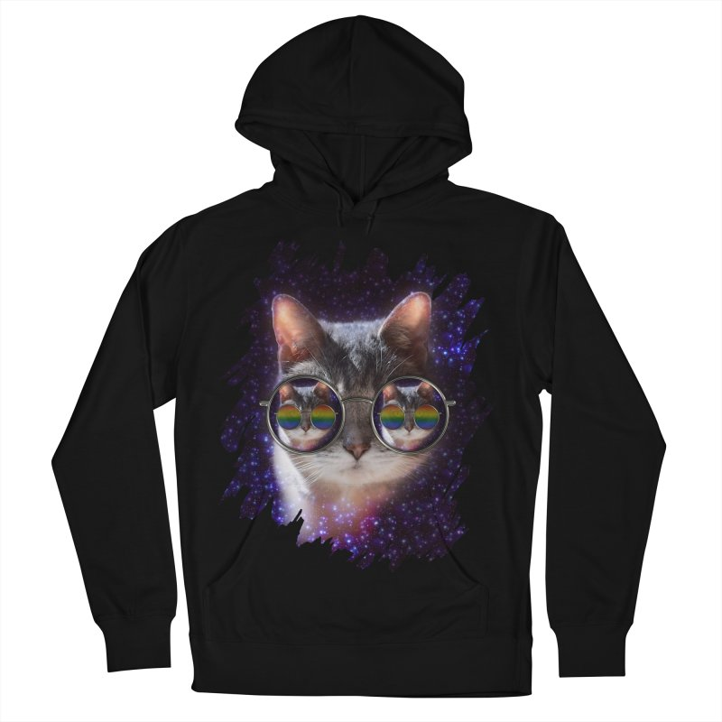 Funny COOL KITTY CAT - Rainbow Sun Glasses Women's French Terry Pullover Hoody by EDDArts Shop