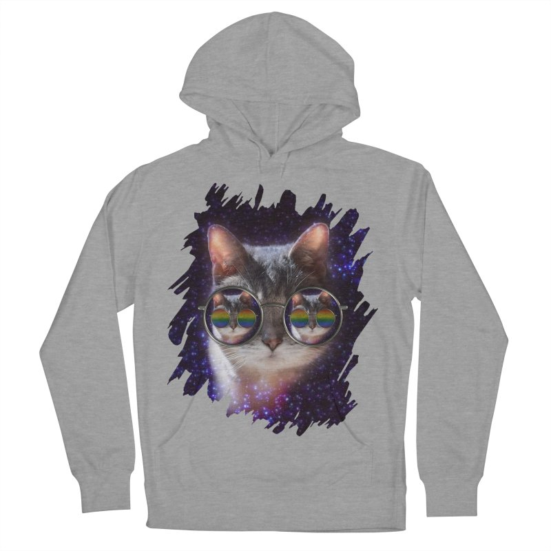 Funny COOL KITTY CAT - Rainbow Sun Glasses Men's French Terry Pullover Hoody by EDDArts Shop