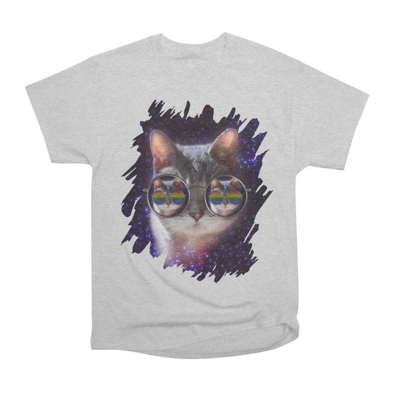 Funny COOL KITTY CAT - Rainbow Sun Glasses Women's Heavyweight Unisex T-Shirt by EDDArts Shop