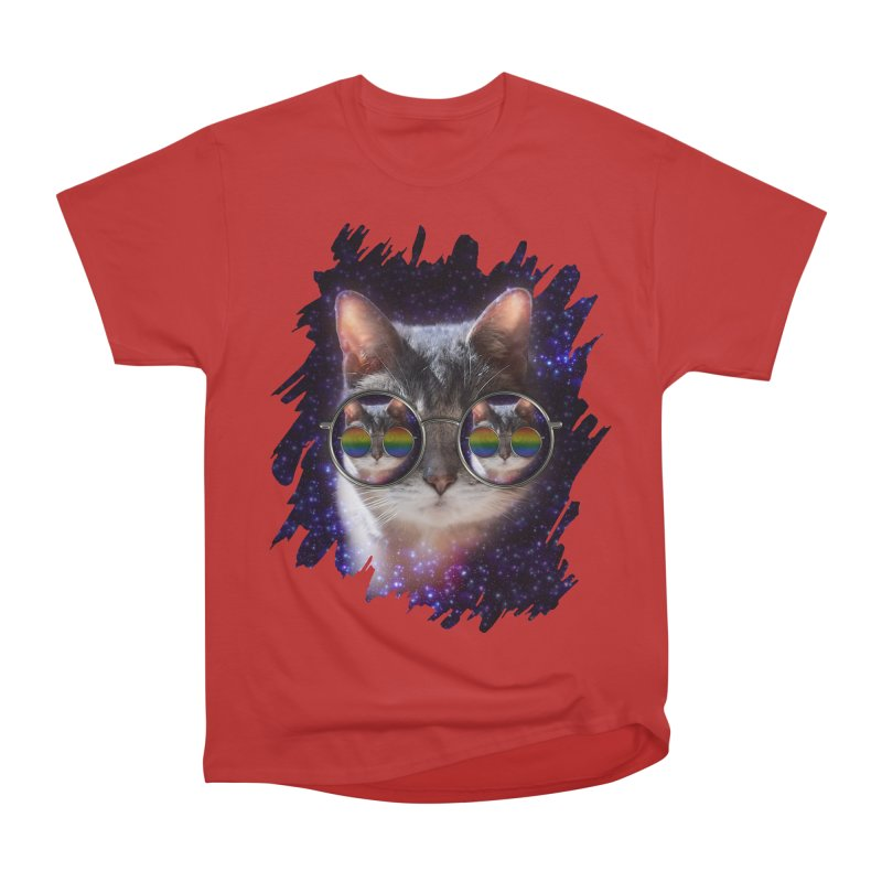 Funny COOL KITTY CAT - Rainbow Sun Glasses Men's Heavyweight T-Shirt by EDDArts Shop