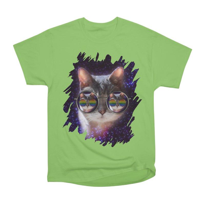 Funny COOL KITTY CAT - Rainbow Sun Glasses Men's Heavyweight T-Shirt by EDDArts Shop