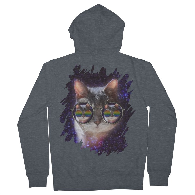 Funny COOL KITTY CAT - Rainbow Sun Glasses Women's Zip-Up Hoody by EDDArts Shop