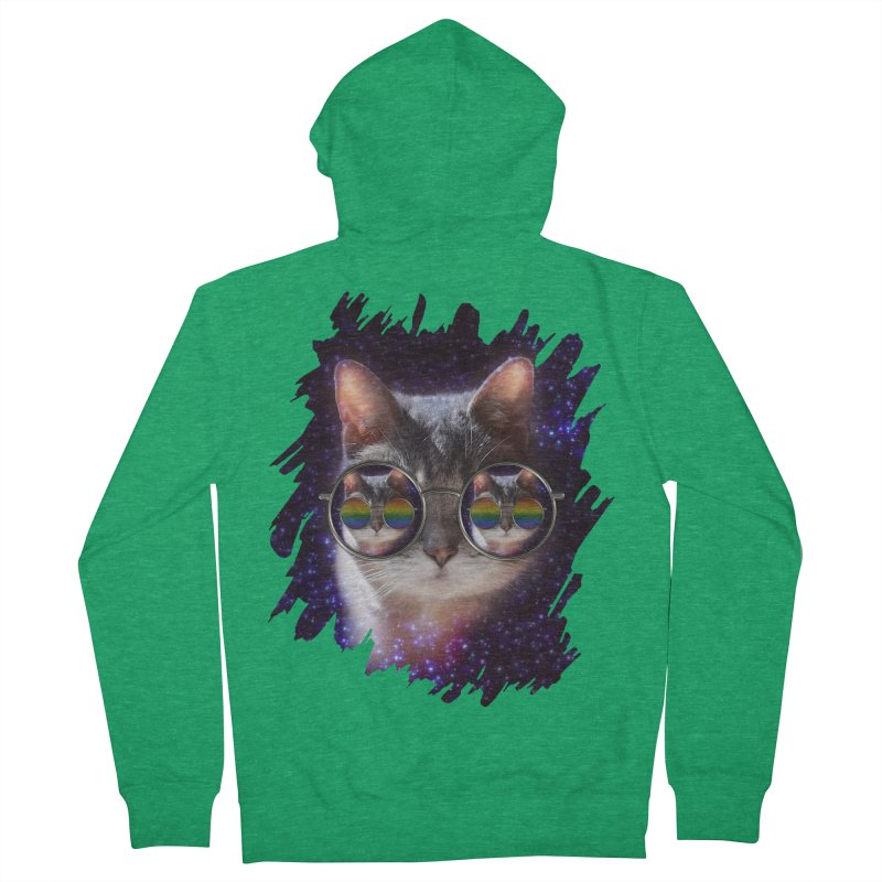 Funny COOL KITTY CAT - Rainbow Sun Glasses Men's French Terry Zip-Up Hoody by EDDArts Shop