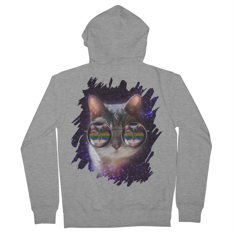 Funny COOL KITTY CAT - Rainbow Sun Glasses Men's Zip-Up Hoody by EDDArts Shop