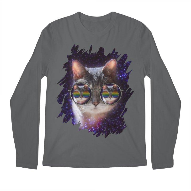 Funny COOL KITTY CAT - Rainbow Sun Glasses Men's Longsleeve T-Shirt by EDDArts Shop