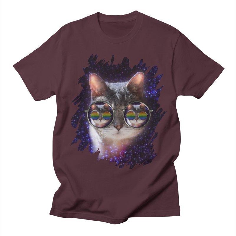 Funny COOL KITTY CAT - Rainbow Sun Glasses Men's Regular T-Shirt by EDDArts Shop