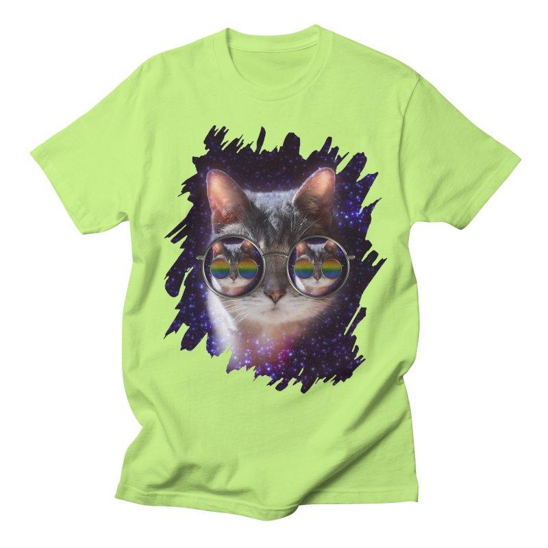Funny COOL KITTY CAT - Rainbow Sun Glasses Women's Regular Unisex T-Shirt by EDDArts Shop