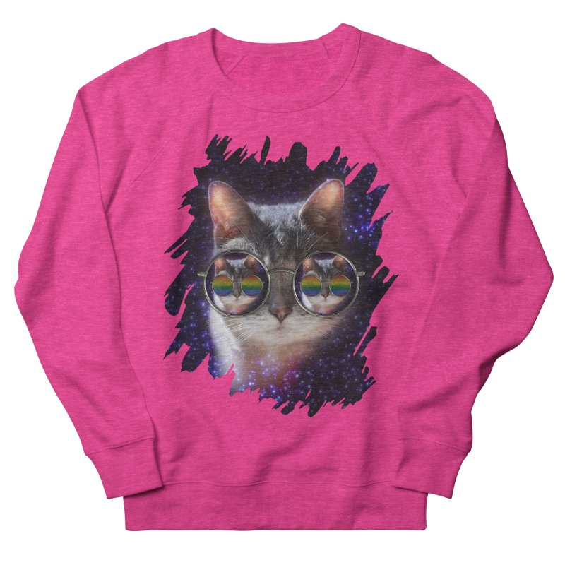 Funny COOL KITTY CAT - Rainbow Sun Glasses Men's French Terry Sweatshirt by EDDArts Shop
